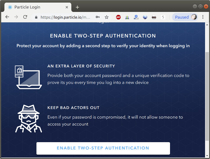 Particle two-step authentication