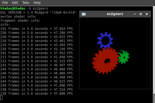 Khadas Edge es2gears Ubuntu-18.04