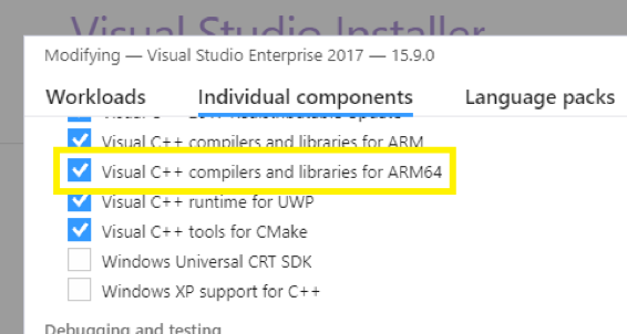 Visual Studio ARM64