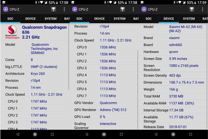 Xiaomi Mi A2 CPU-Z