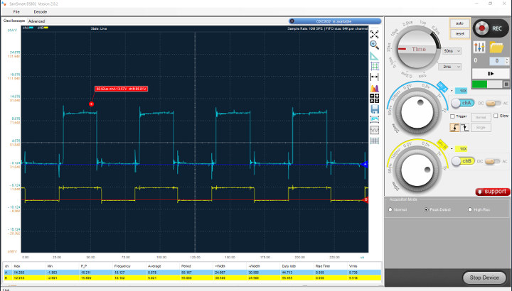 Oscilloscope-3D-Printer-TMC2100-stepper-motor-waveform
