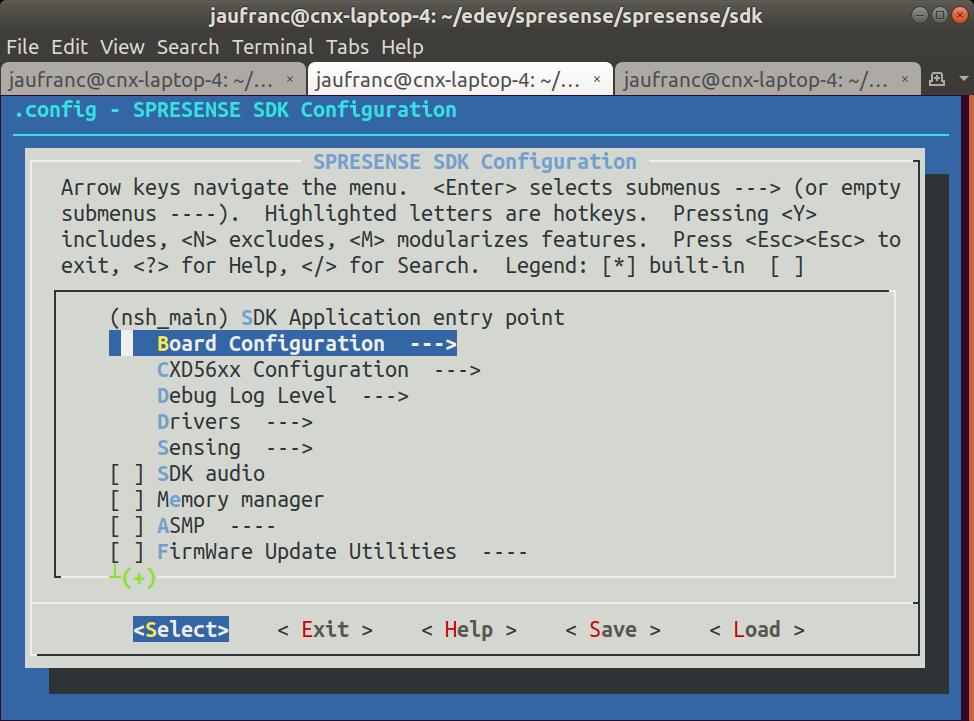 Spresense SDK menuconfig