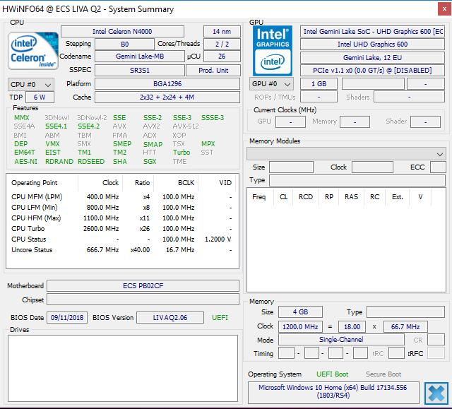 Intel N4000 HWiNFO64 LIVA Q2
