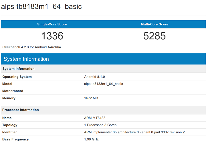 MediaTek MT8183 Benchmark GeekBench 4
