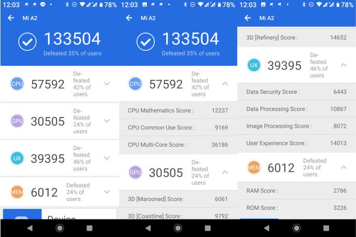 Xiaomi Mi A2 Android 9 Antutu 7
