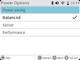 gameshell power options