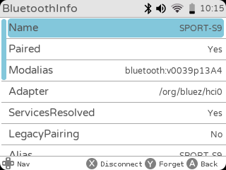 gameshell settings bluetooth paired