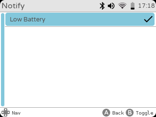 gameshell settings notifications low battery