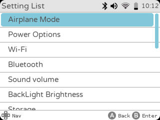 settings airplane power options