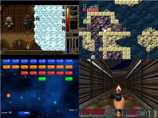 Gameshell Opentyrian cave story doom