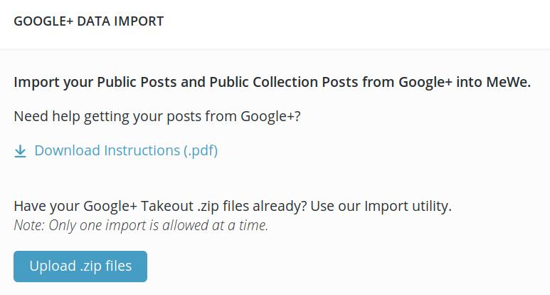 MeWe Google+ Data Importer