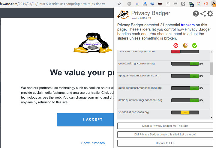 Privacy Badger and QuantCast Choice GDPR Compliance Popup