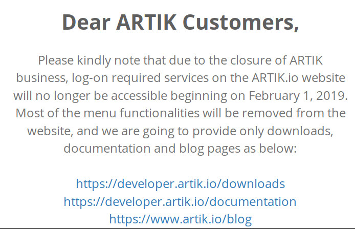 Samsung ARTIK Discontinued