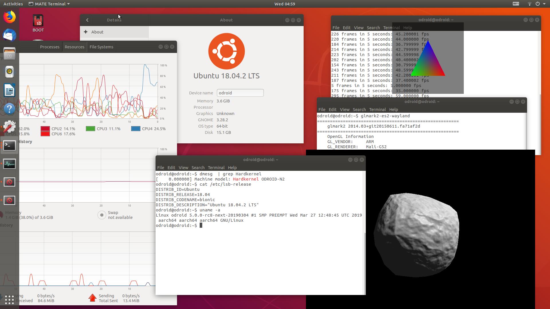 ODROID-N2 GPU Drivers, Linux 5 0, and Impressive glmarks-es2 Score