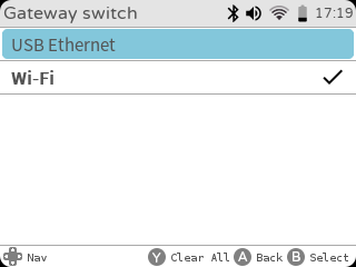 gameshell network gateway: WiFI vs USB Ethernet