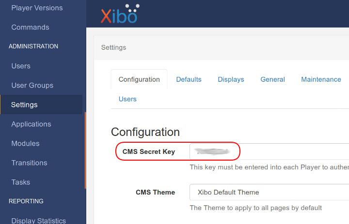 Xibo Secret Key