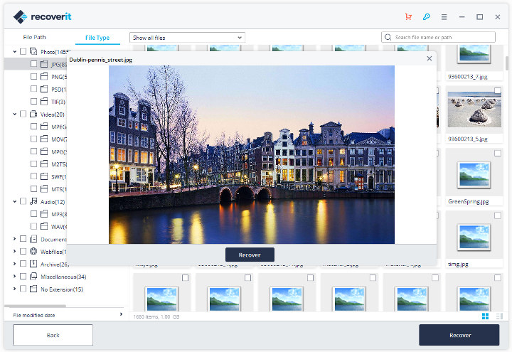 Recoverit 8.0 Recovered Photo Preview