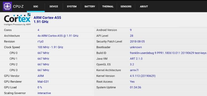 Amlogic S905X3 CPU-Z