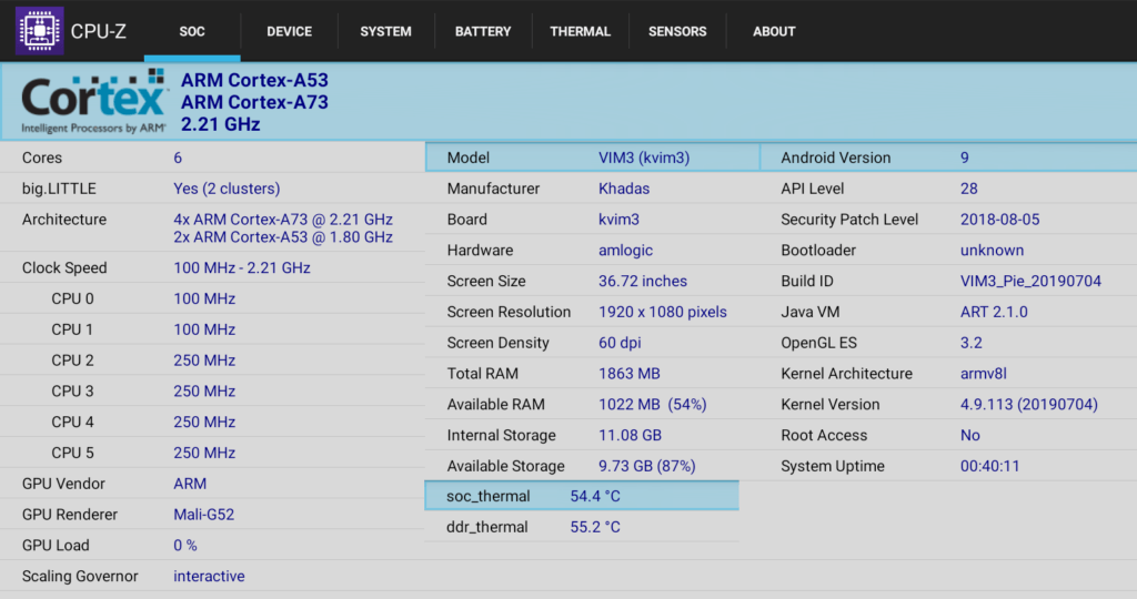 Khadas VIM3 (Amlogic A311D) Benchmarks & System Info in