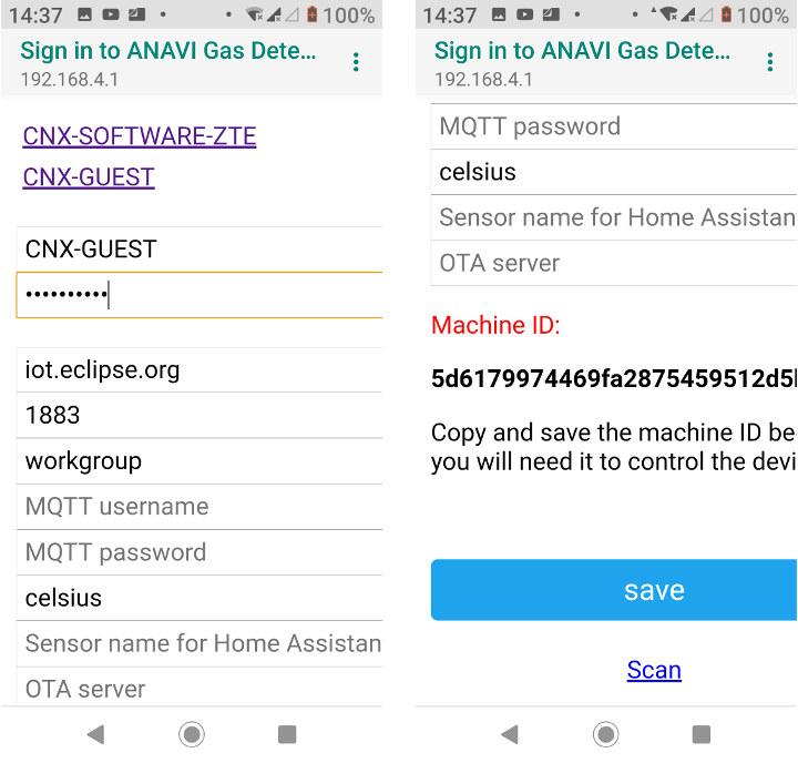 ANAVI Gas Detector WiFi Configuration