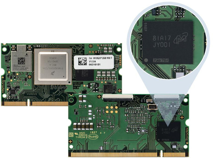 micron eMMC flash in Toradex SoM