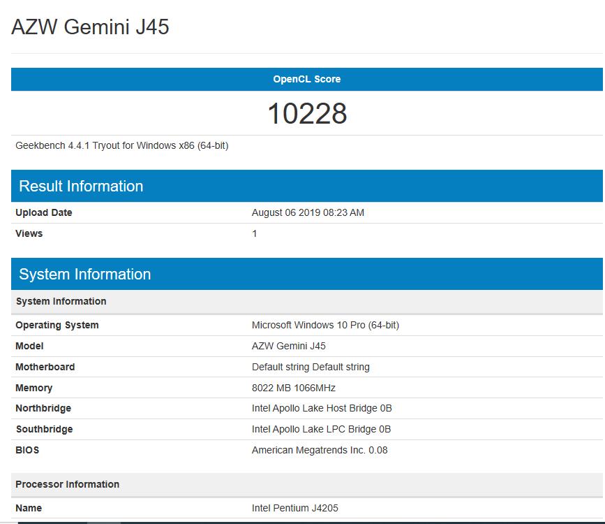 AZW Gemini J45 GeekBench OpenCL