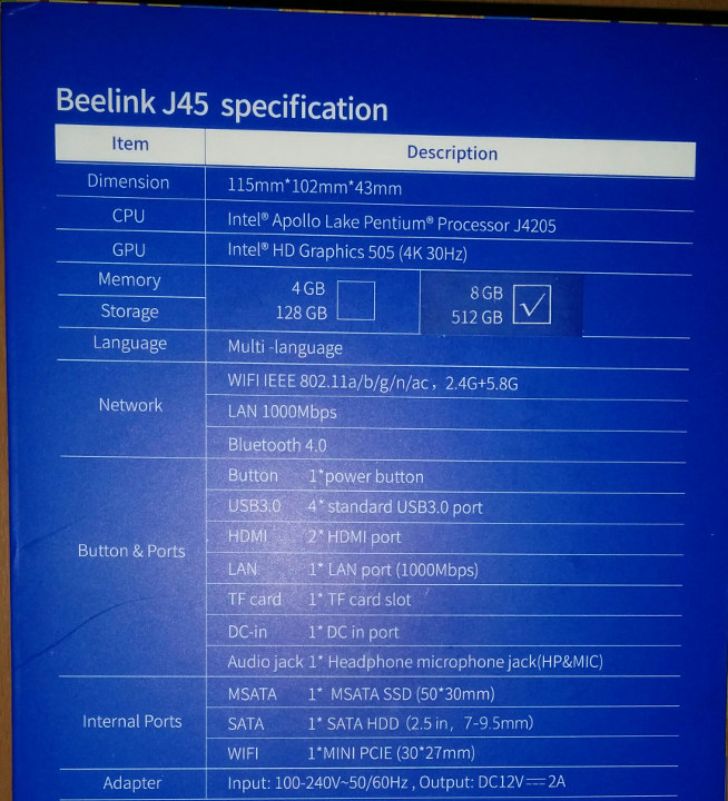 Beelink J45 Specifications