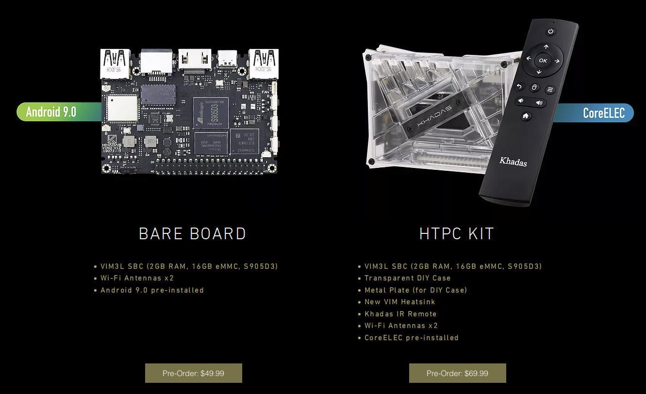 Khadas VIM3L SBC up for pre-order for $50 and up, VIM1