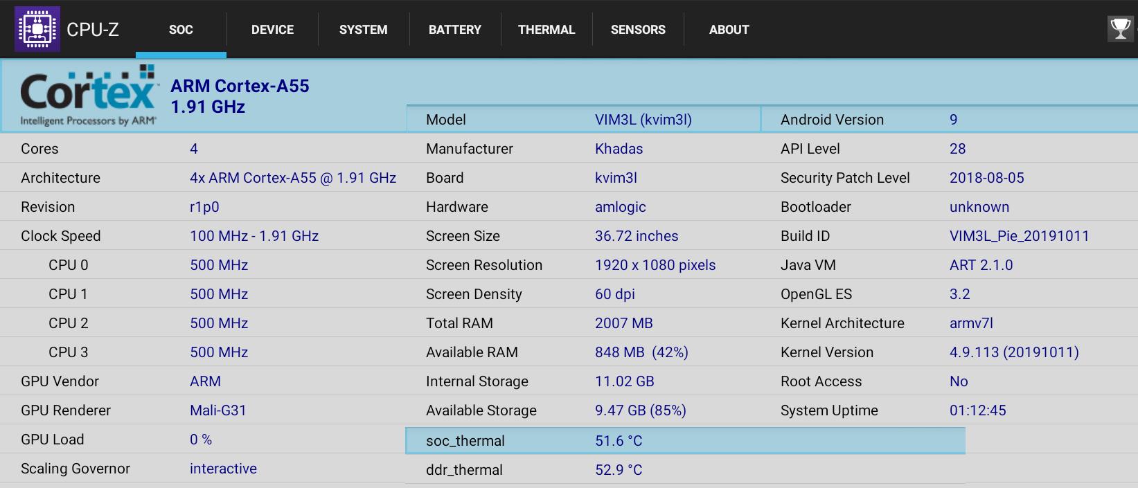 Khadas VIM3L CPU-Z