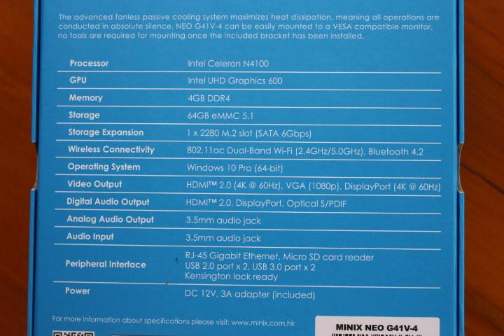 MINIX NEO G41V-4 Specification