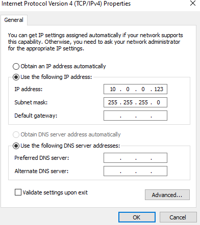 Windows 10 Ubiquity USG Subnet