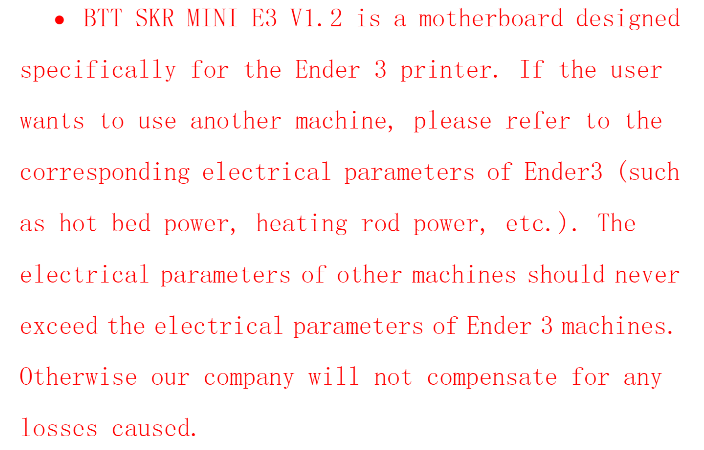 SKR Mini E3 Warning