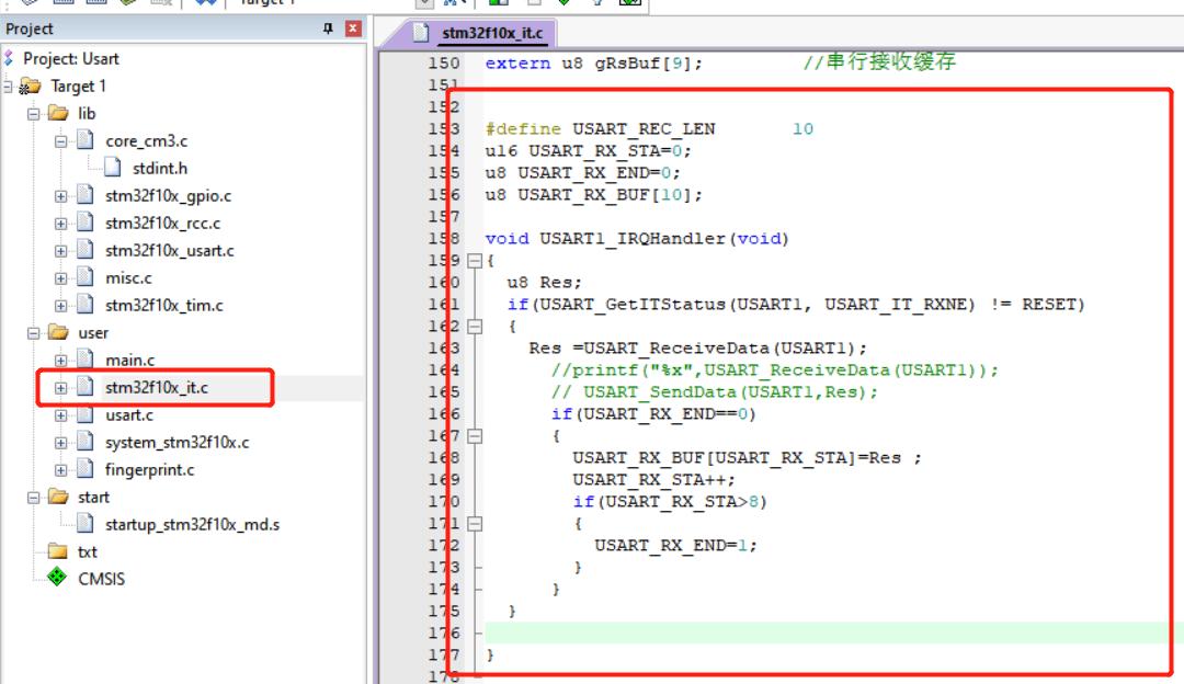 STM32 USART IRQ handler