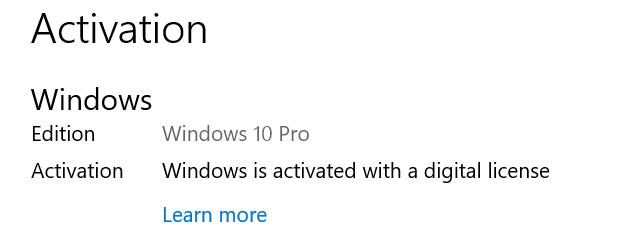Windows activation OK