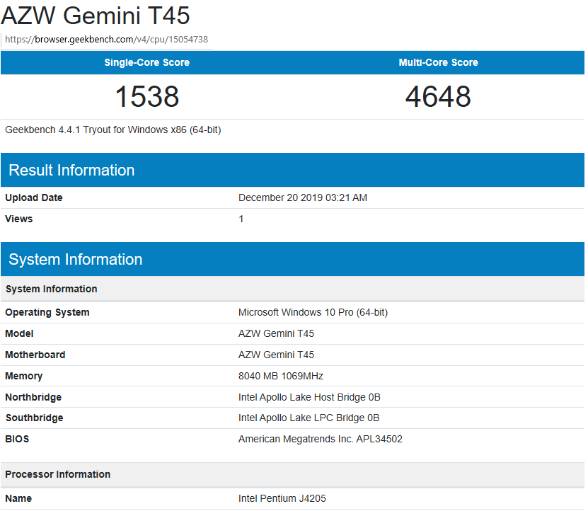 AZW Gemini T45 windows-geekbench4 power limit 10W