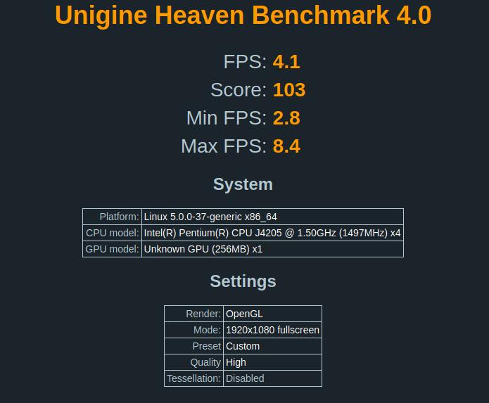 Beelink Gemini J45 Unigine-Heaven Benchmark Ubuntu