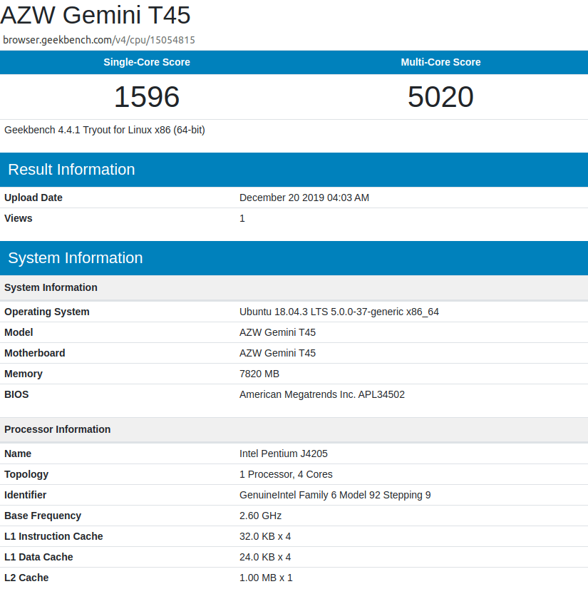 ubuntu geekbench4 powerlimit 10 Watts