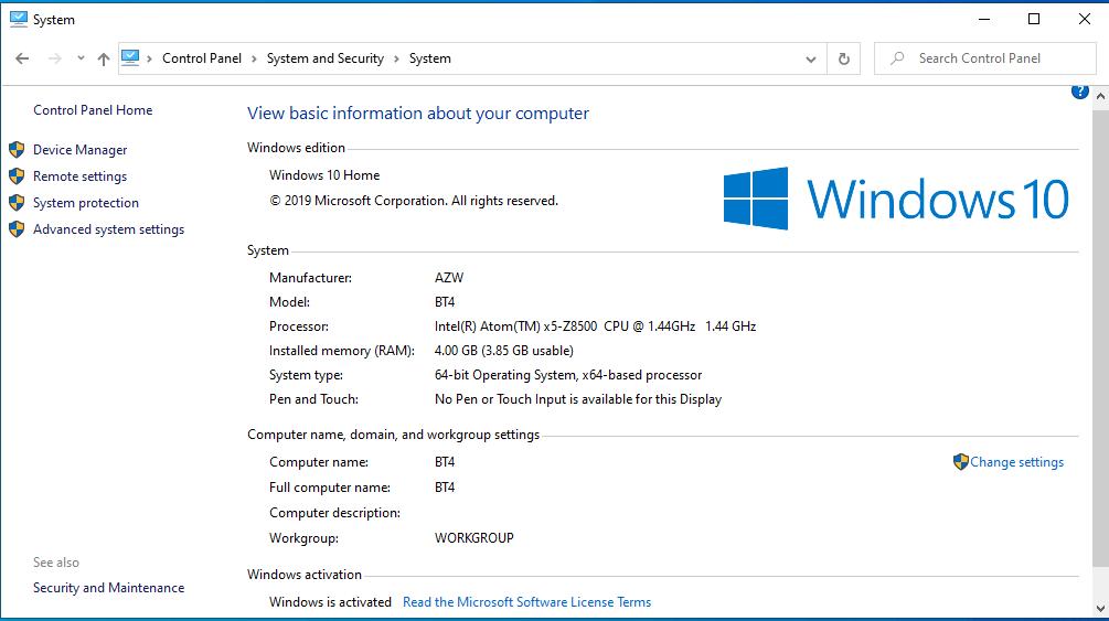 BT4 windows system