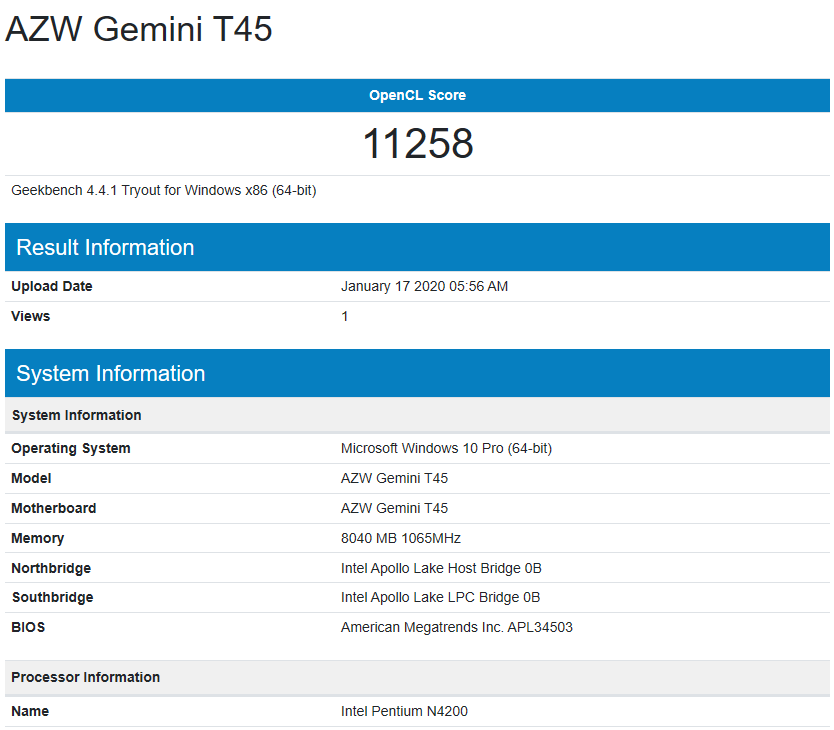 Beelink Gemini T45 Review windows geekbench4 compute