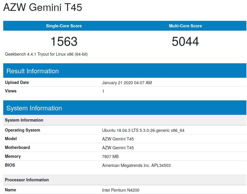 Beelink Gemini T45 ubuntu geekbench4 cpu