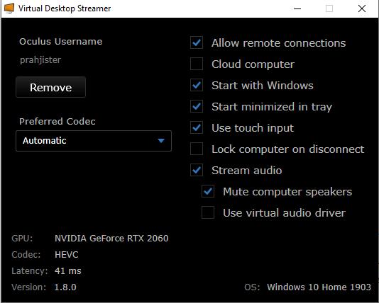 Virtual Desktop Settings