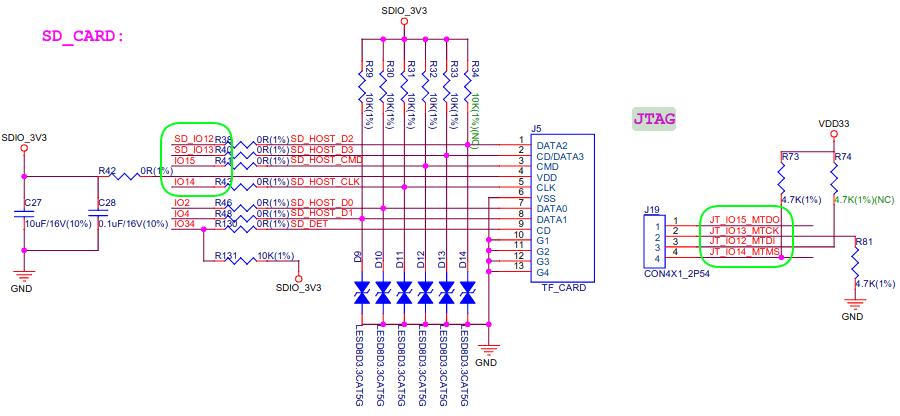 ESP32 shared SD card & JTAG signals