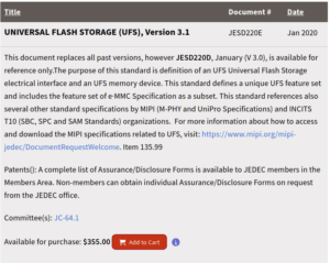 UFS 3.1 Specification