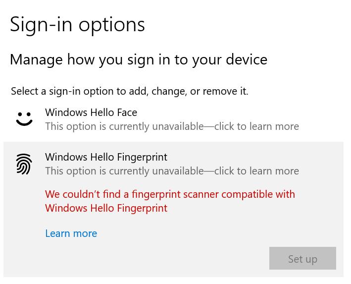windows hello fingerprint no compatible scanner