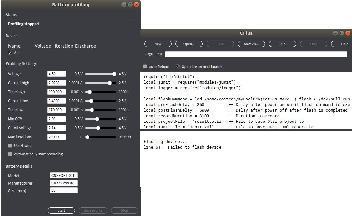 Otii Battery Profiling Script