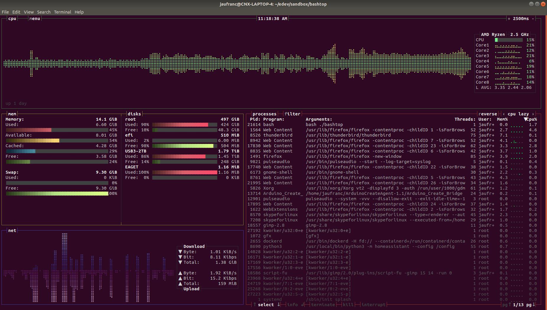 bashtop linux terminal monitor