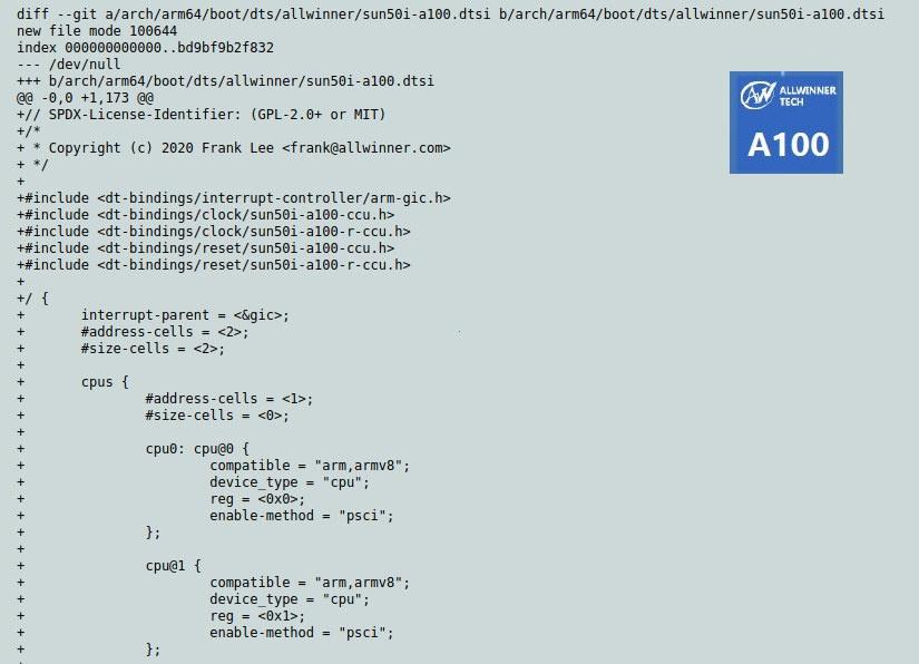 Allwinner A100 Mainline Linux