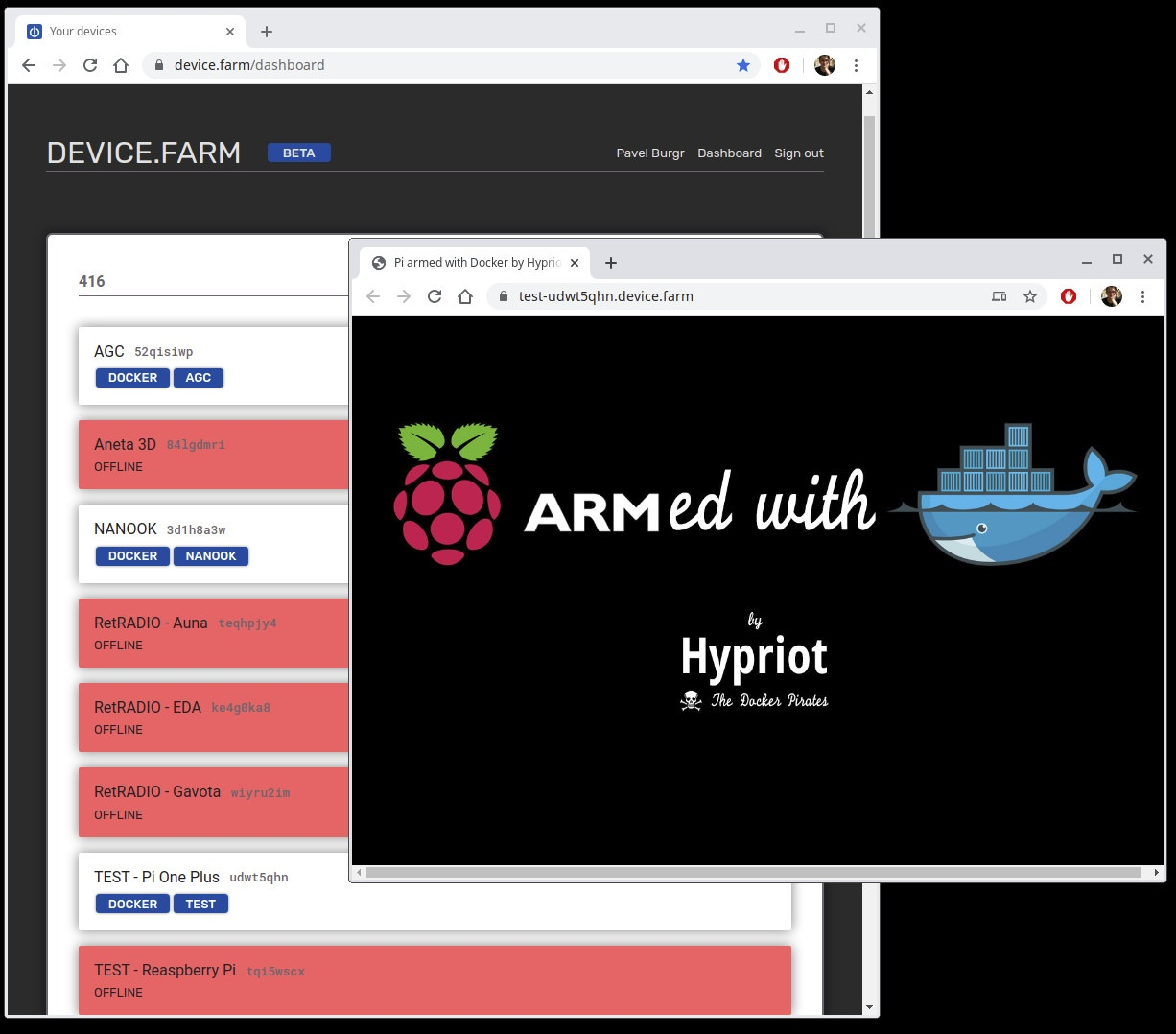 DEVICE.FARM Docker Running Web Browser