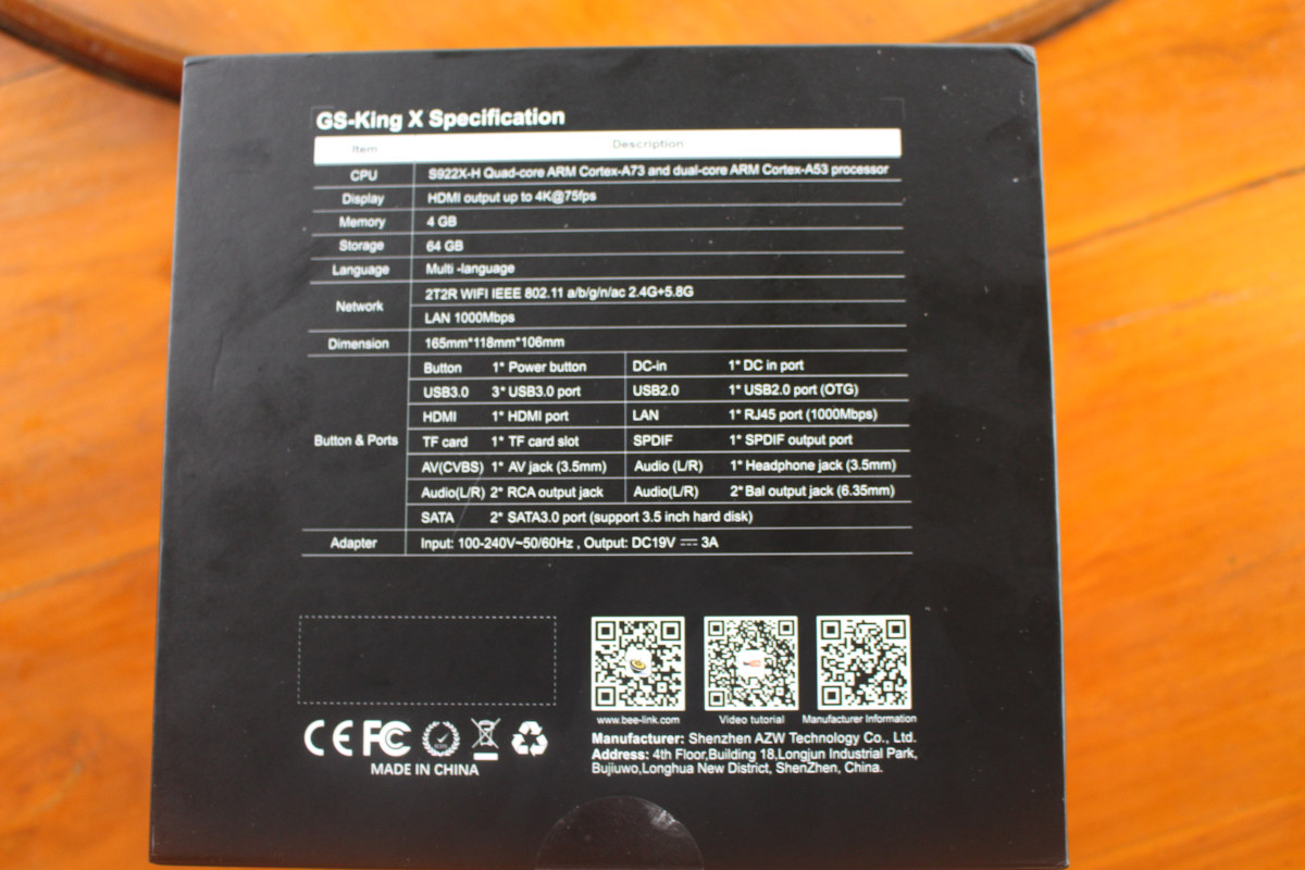 Beelink GS-King X specifications