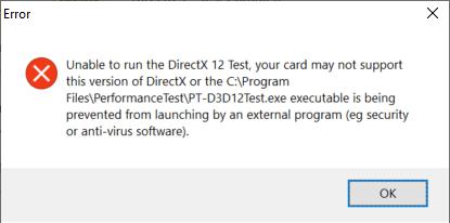Passmark DirectX12 Failure